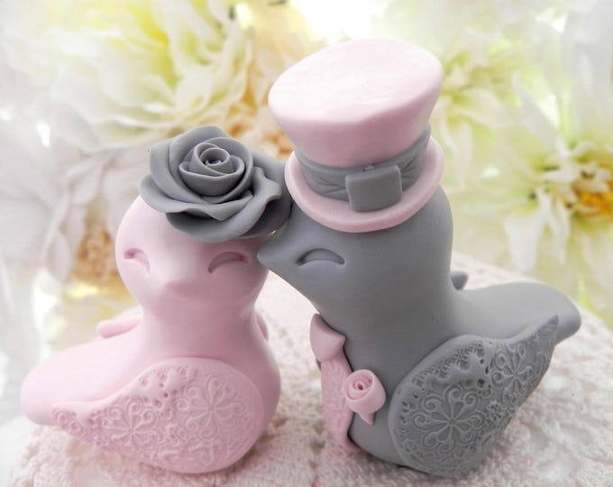 Love Birds Wedding Cake Topper, Dusty Pink and Grey, Bride and Groom Keepsake, Fully Personalized