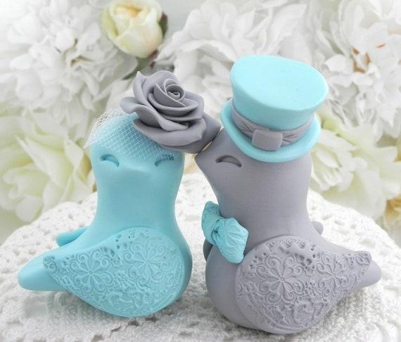 Robin Egg Blue And Gray Love Birds Wedding Cake Topper Bride