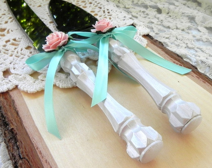Shabby Chic Wedding Cake Server And Knife Set, Pearl, Mint and Pink, Bridal Shower Gift, Wedding Gift