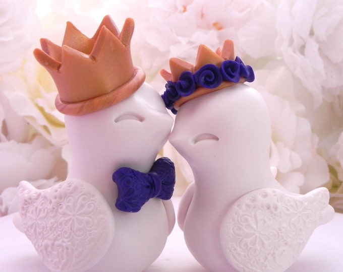 Love Birds Wedding Cake Topper, Ivory with Gold Crowns and Dark Purple Accents- Bride and Groom Keepsake - Fully Personalized