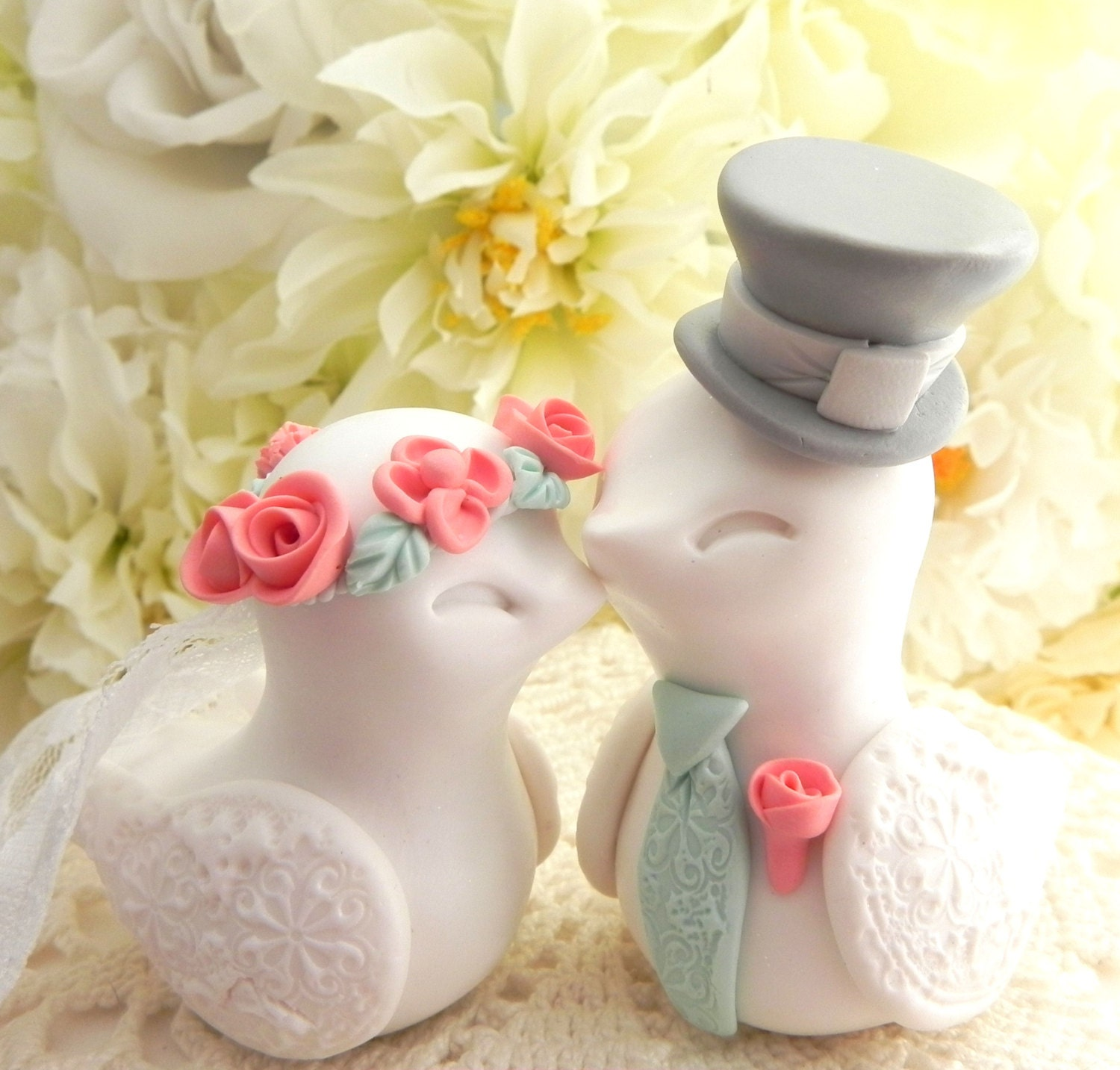 Love Birds Wedding Cake Topper, White, Coral, Mint Green and Grey ...