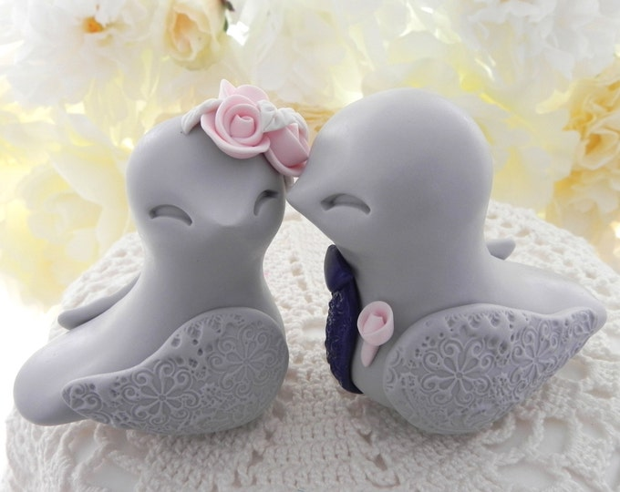 Love Birds Wedding Cake Topper, Light Grey, Blush Pink, Navy and Ivory - Bride and Groom Keepsake, Fully Custom