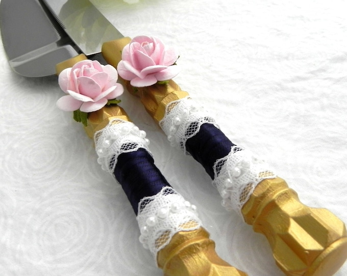 Wedding Cake Server And Knife Set, Gold with Navy, Lace and Pink Rose, Bridal Shower Gift, Wedding Gift
