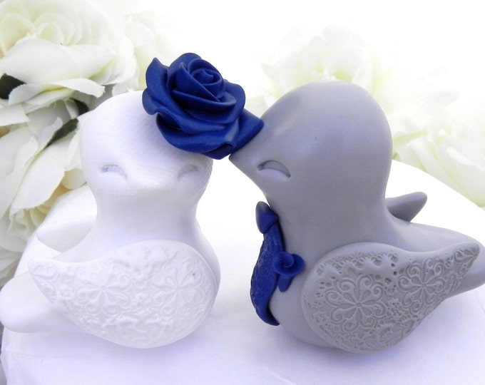 Love Birds Wedding Cake Topper, White, Grey and Navy Blue, Bride and Groom Keepsake, Fully Custom