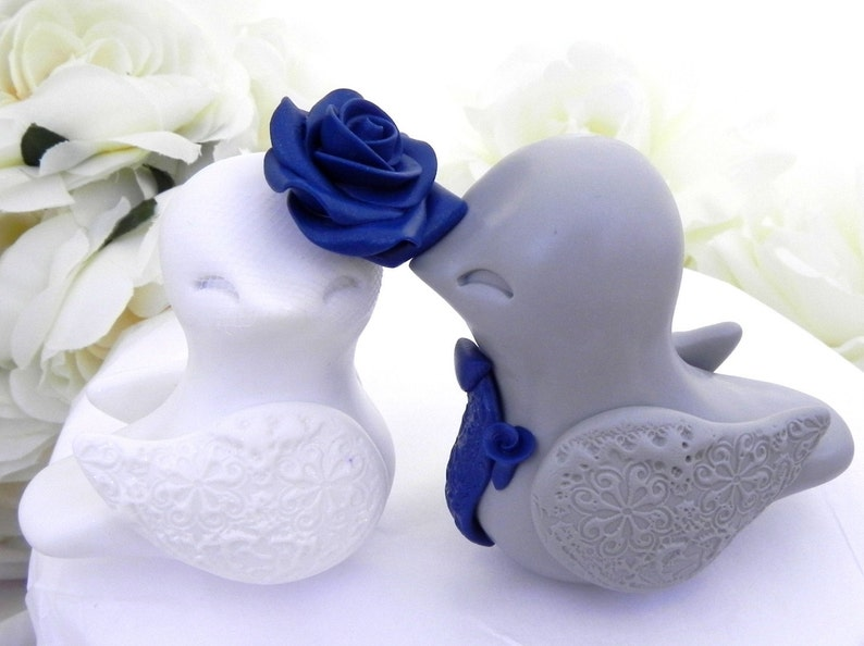Love Birds Wedding Cake Topper White Grey And Navy Blue Bride And Groom Keepsake Fully Custom