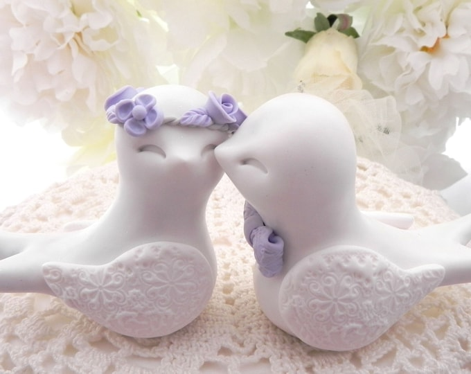 Swallowtail Love Bird Wedding Cake Topper, White and Lilac Purple , Bride and Groom Keepsake, Fully Custom