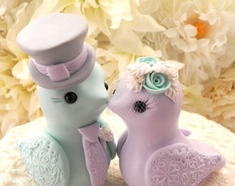 Love Birds Wedding Cake Topper, Mint Green, Lilac, Grey and Cream, Bride and Groom Keepsake