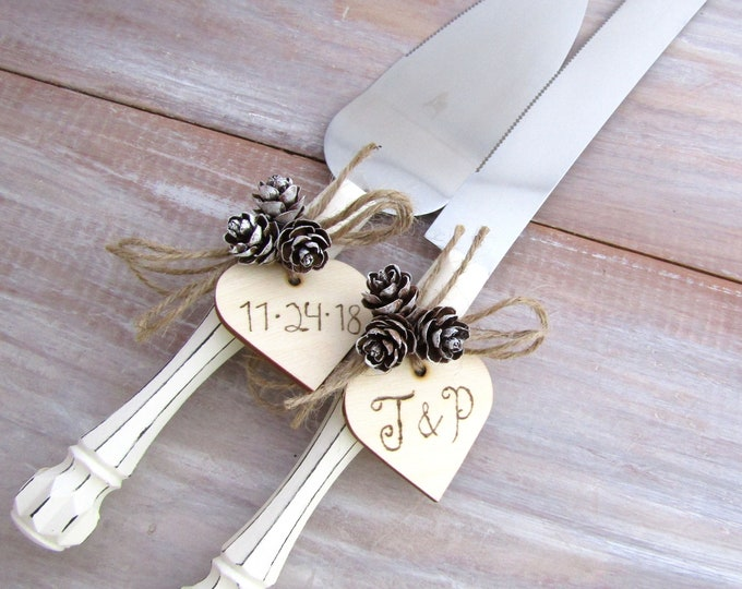 Rustic Winter Wedding Cake Server Knife Set White with Mini Pine Cones Personalized Wood Hearts Bridal Shower Gift Wedding Gift