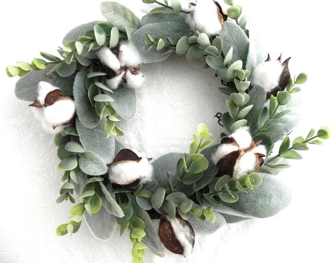 Mini Wreath Eucalyptus Wreath Farmhouse Wreath Cotton Ball Wall Decor Lamb's Ear Wreath Housewarming Gift Mantle Decor Nursery Gift for Her