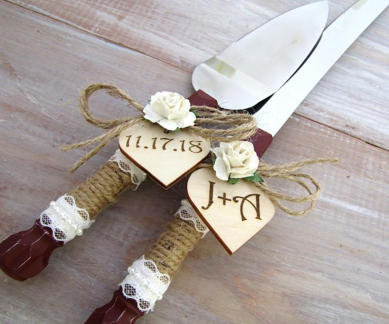 Rustic Wedding Cake Server Knife Set Cake Cutter Set Burgundy Etsy