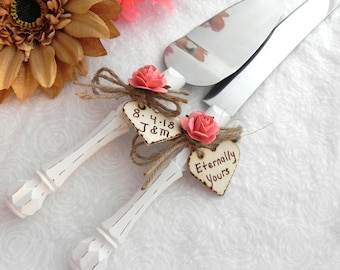 Rustic Wedding Cake Server Knife Set Cream Handle Coral Flowers Personalized Bridal Shower Gift Wedding Gift You Choose Colors