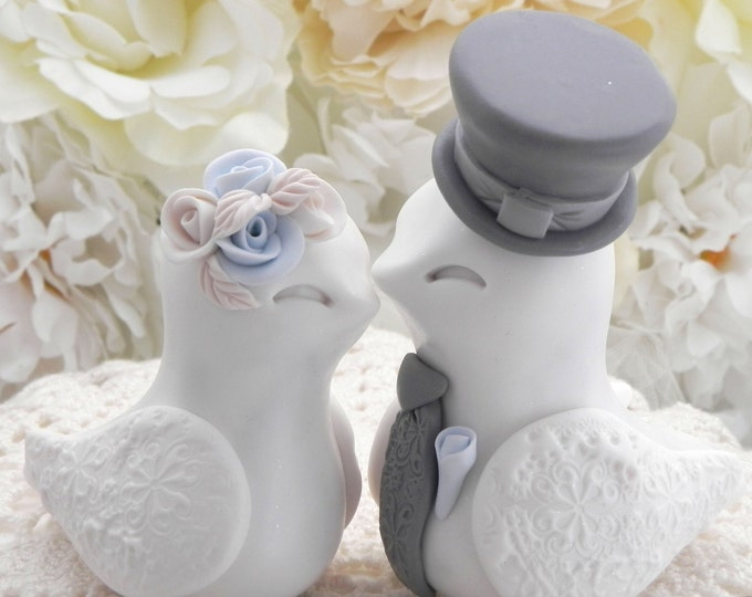 Love Birds Wedding Cake Topper, White, Pale Blue and Grey, Bride and Groom Keepsake, Fully Personalized