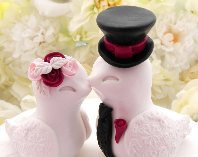 Love Birds Wedding Cake Topper, White, Red, Pink and Black, Valentine Wedding, Bride and Groom Keepsake, Fully Personalized