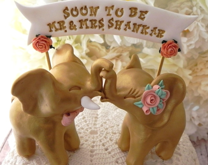 Wedding Cake Topper, Gold Elephants, Peach Roses and Bow Tie, Bride and Groom Keepsake, Wedding Banner