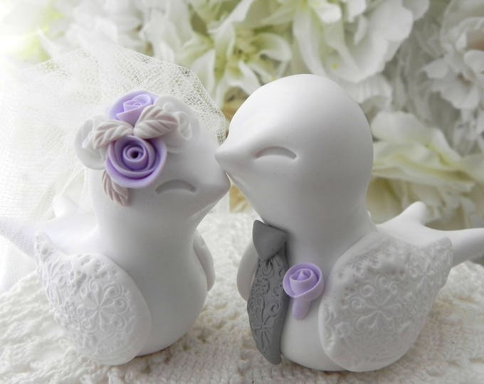 Swallowtail Love Bird Wedding Cake Topper, White, Lilac and Gray, Bride and Groom Keepsake, Fully Custom