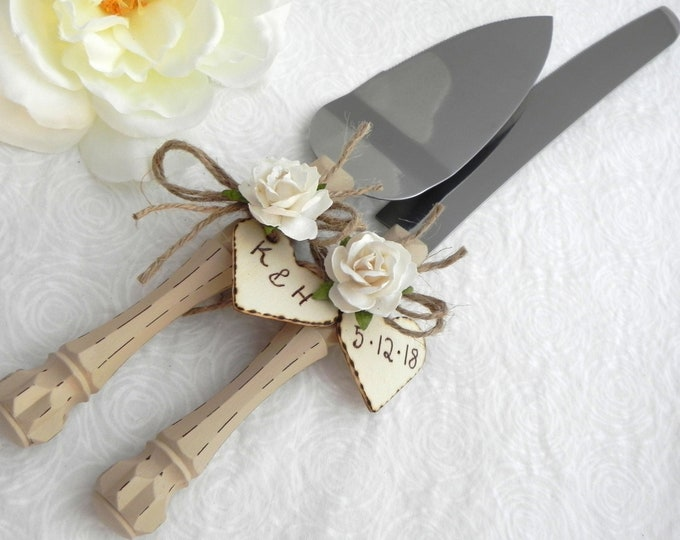 Rustic Chic Wedding Cake Server And Knife Set, Tan and White Personalized Wood Hearts, Bridal Shower Gift, Wedding Gift