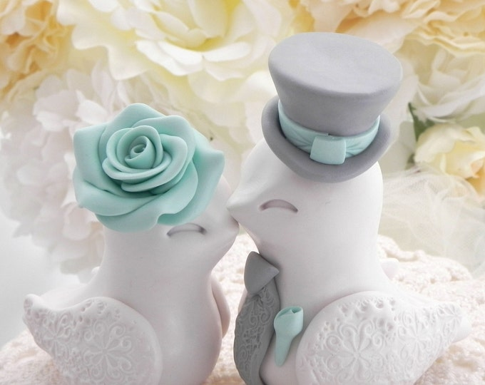 Love Birds Wedding Cake Topper, White, Seafoam Green and Grey, Bride and Groom Keepsake, Fully Personalized