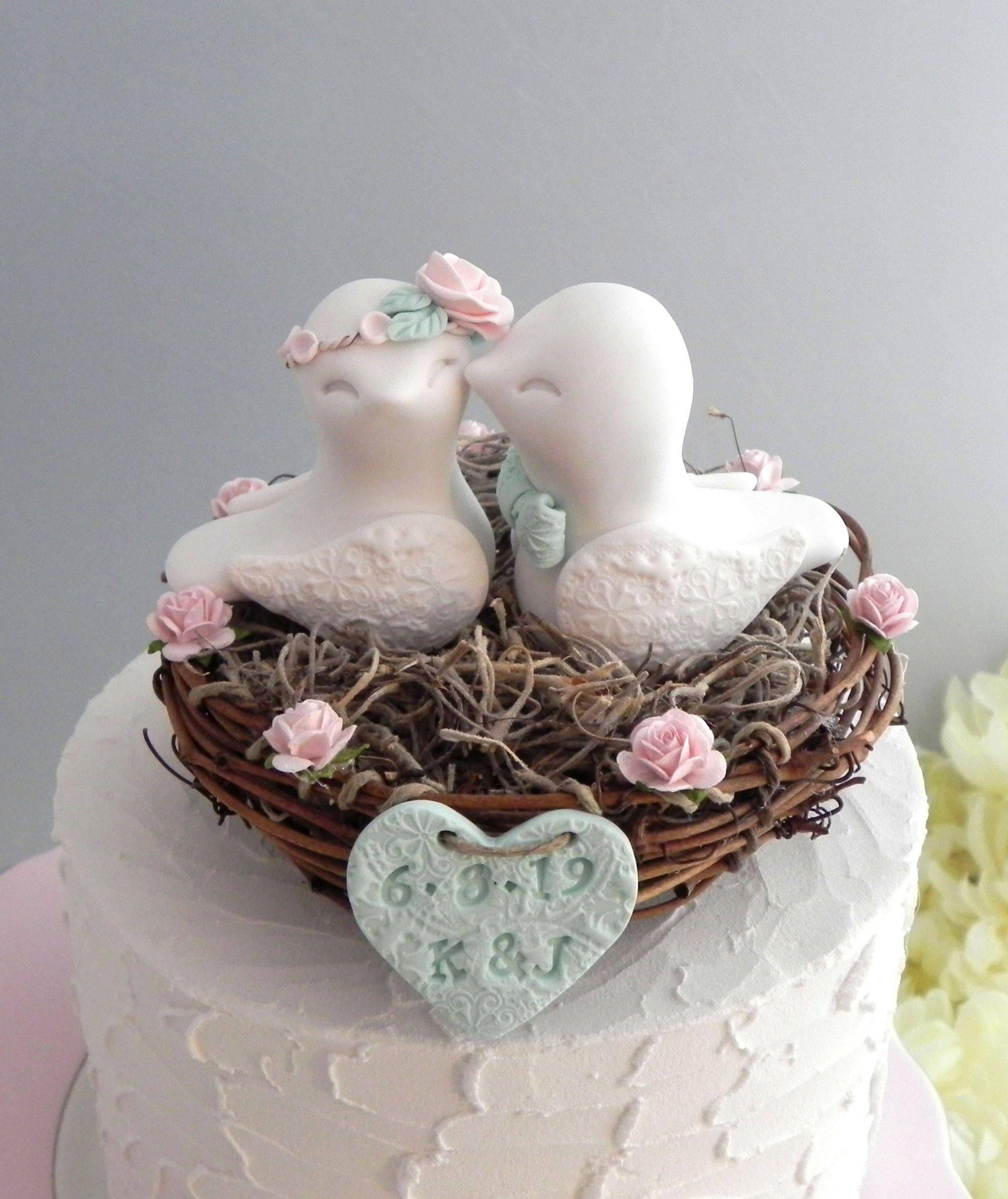 Rustic Love Bird Wedding Cake Topper, Blush Pink, Beige and Mint ...