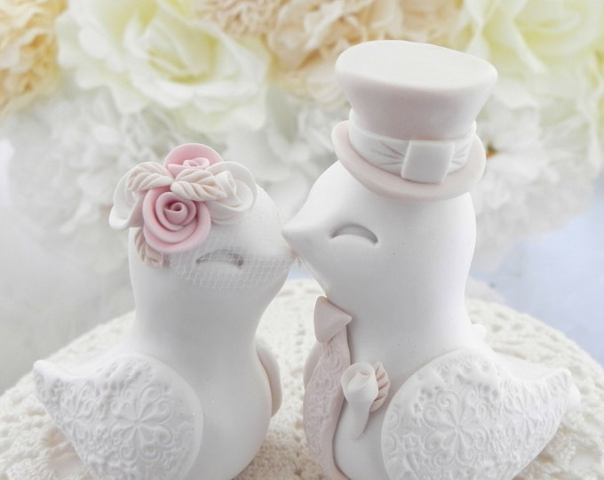Love Birds Wedding Cake Topper, White, Dusty Pink and Beige, Bride and Groom Keepsake, Fully Personalized