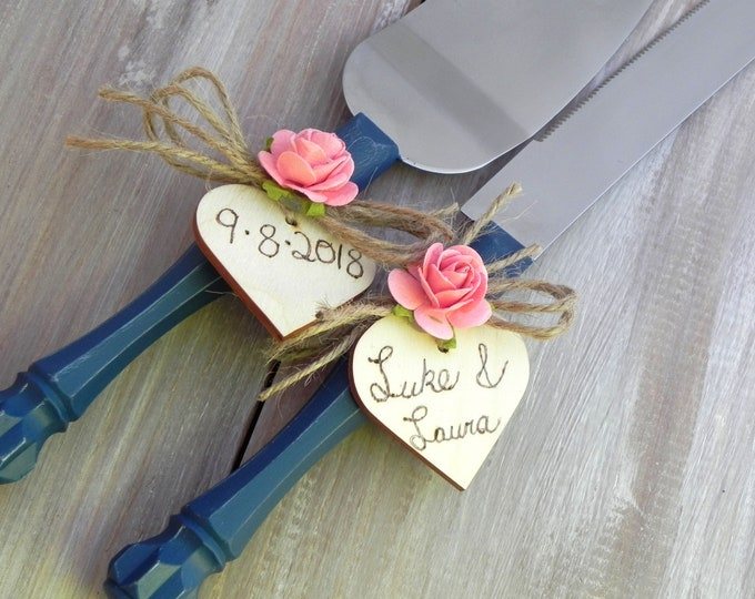 Rustic Chic Wedding Cake Server Knife Set Navy Blue with Coral Flower Personalized Wood Hearts Bridal Shower Gift Country Wedding Gift