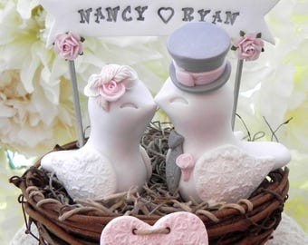 Rustic Love Bird Wedding Cake Topper White, Blush Pink and Gray, in a nest with Personalized Heart and Banner,
