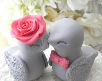 Love Birds Wedding Cake Topper, Coral and Gray, Bride and Groom Keepsake, Fully Personalized