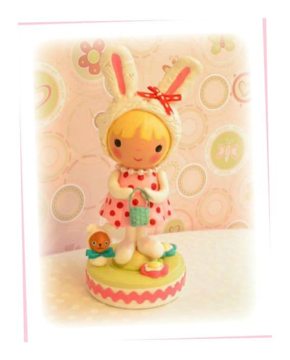 Bunny Birthday Cake Topperclay Cake Topperbunny Party Baby Etsy