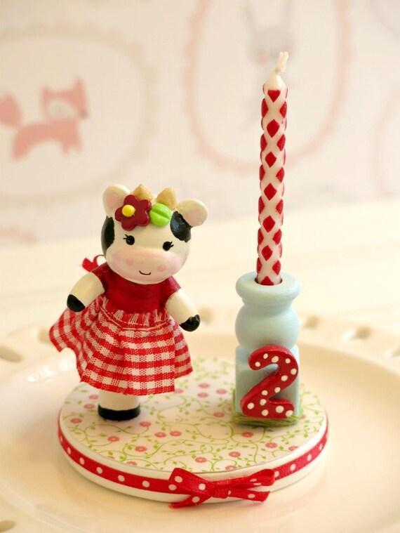 Cow Cake Topper 1st Birthday Cake Topper Girl Cow Finger Etsy