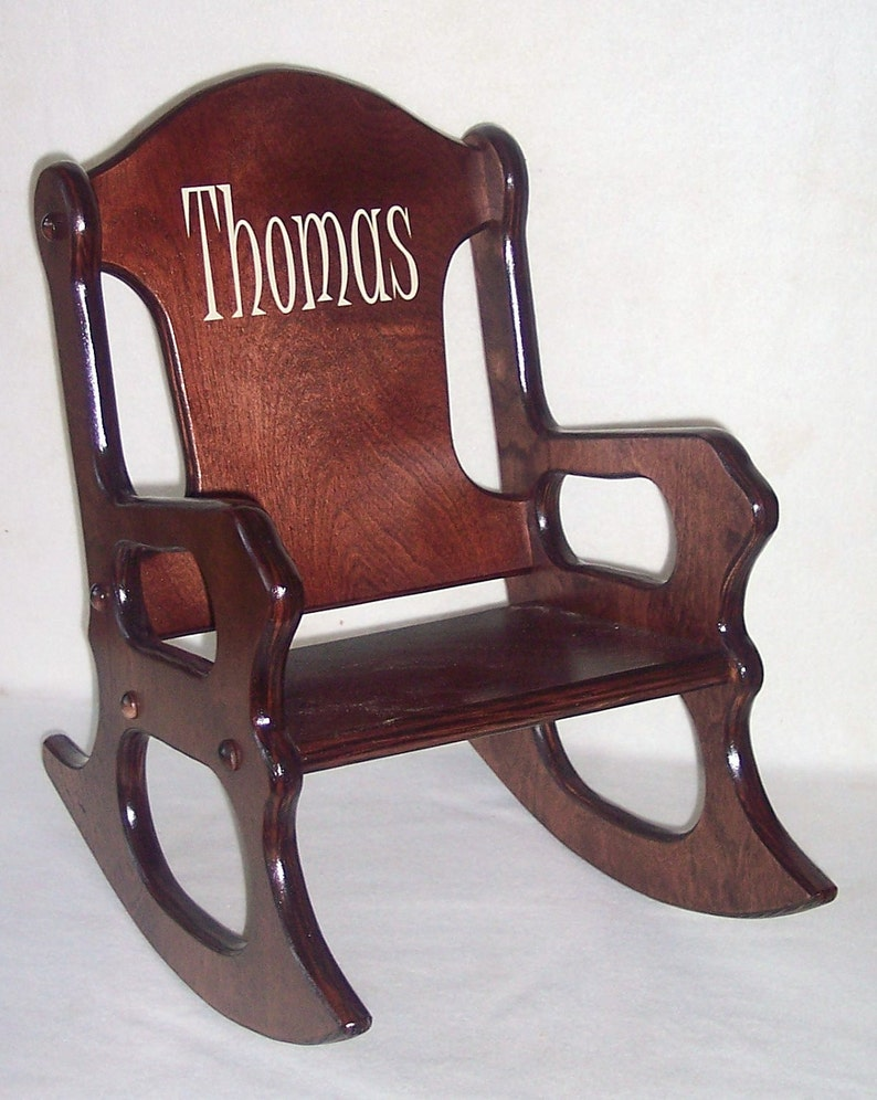 Phenomenal Wooden Kids Rocking Chair Personalized Cherry Finish Dailytribune Chair Design For Home Dailytribuneorg