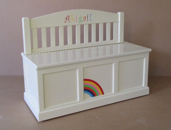 wooden toy chest bench antique white rainbow etsy. Black Bedroom Furniture Sets. Home Design Ideas