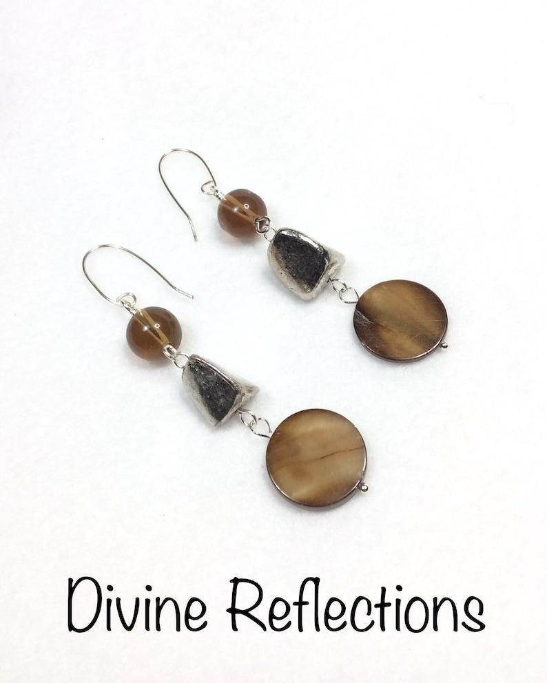 Boho Statement Dangle Earrings,Mother of Pearl Earrings,Freeform Earrings