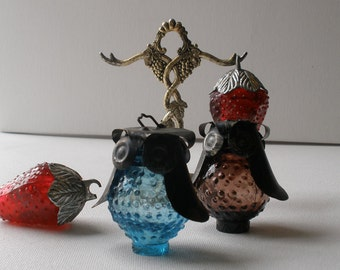 Vintage 60s Owl and Strawberry Salt and Pepper Shakers with Hanging Display