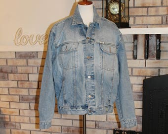 Vintage Men's Guess Jean Jacket, Stonewashed Denim Jacket, American Cut Guess USA