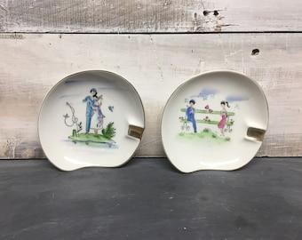 Pair of Hand Painted Lefton Ashtrays, Lefton Jewelry Dish, Lefton Fine China