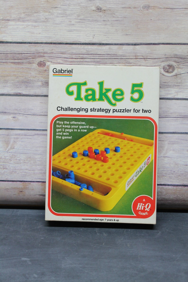 1977 Gabriel Take 5 Game, Challenging Strategy Puzzler For Two, A Hi-Q Game