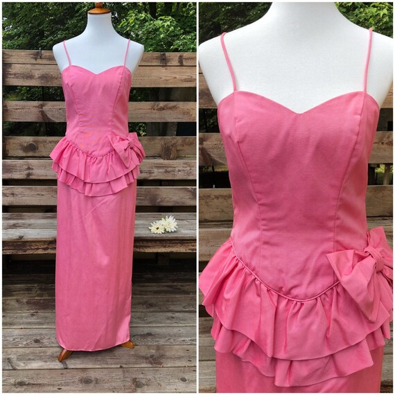 Vintage Pretty in Pink Spaghetti Strap Party Dress