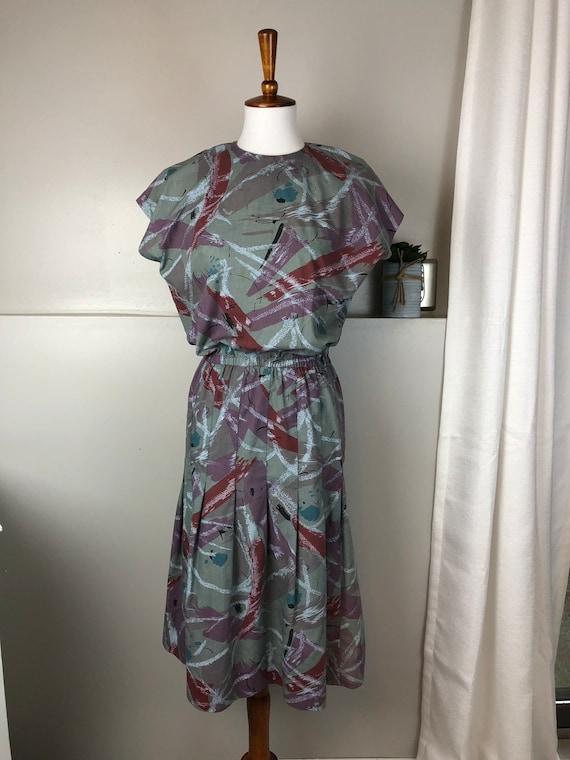 Vintage 1980's Abstract Print Dress