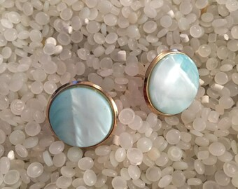 Vintage mother of pearl cuff links, something blue, mens gift,