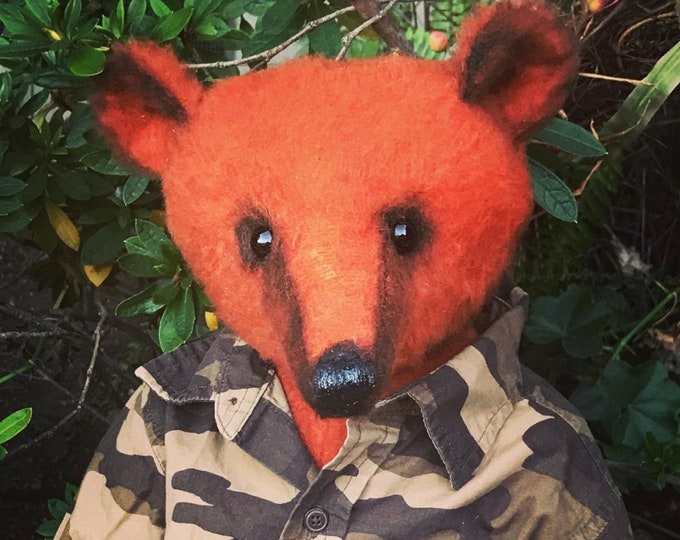 Comrade -20 inch orange mohair soldier bear