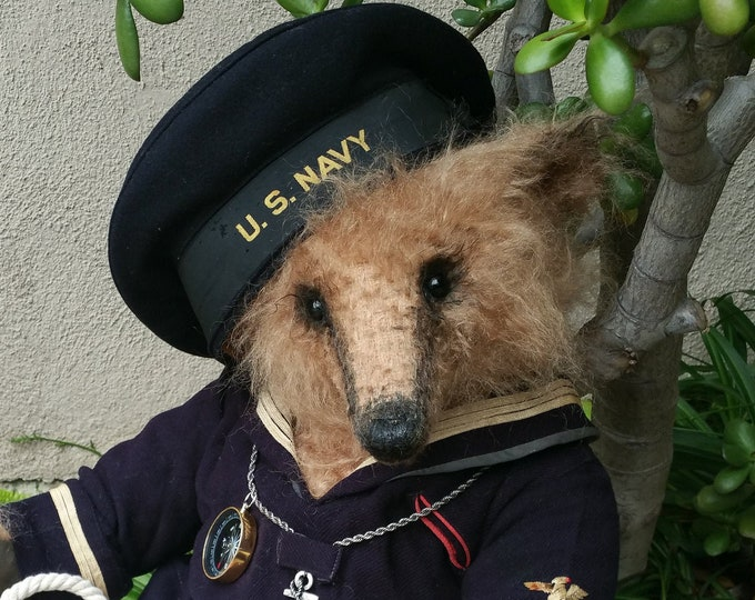 RESERVED***Out to sea - 24 inch long pile mohair honey bear in vintage naval top & hat