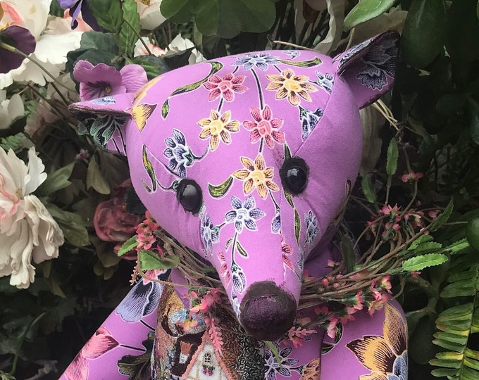 Country garden - 23 inch floral bear with embroidered cottage front