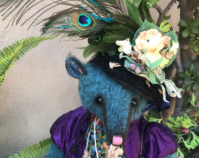 RESERVED ***Lady Blue - 24 inch mohair bear with vintage woodwork in vintage jacket & decorated bonnet