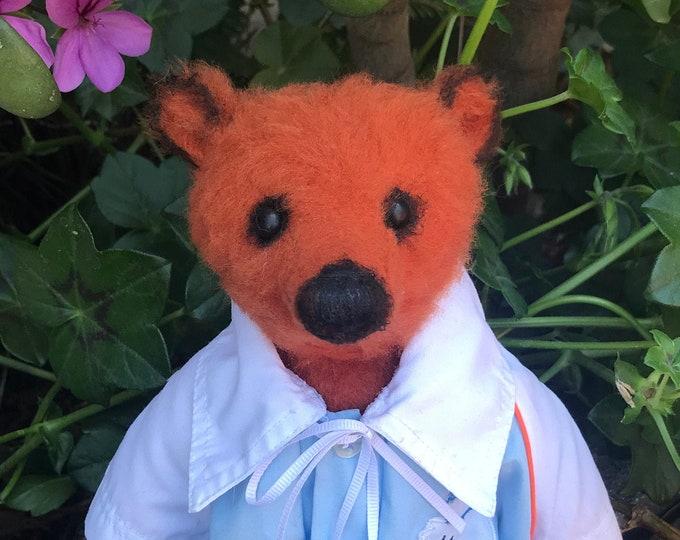 Pip- 13 inch orange bear with vintage shirt