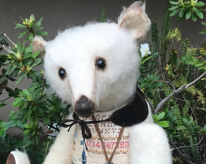 RESERVED ***Sir William - 26 inch pale sparse mohair bear with vintage cross stitched front