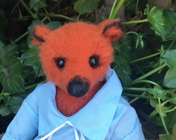 Boo - 11 inch orange bear with vintage shirt