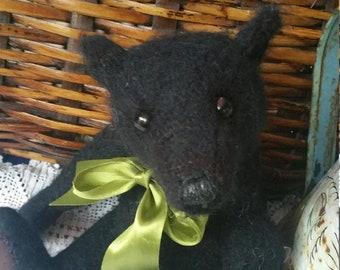 Harry - 11 inch black mohair bear