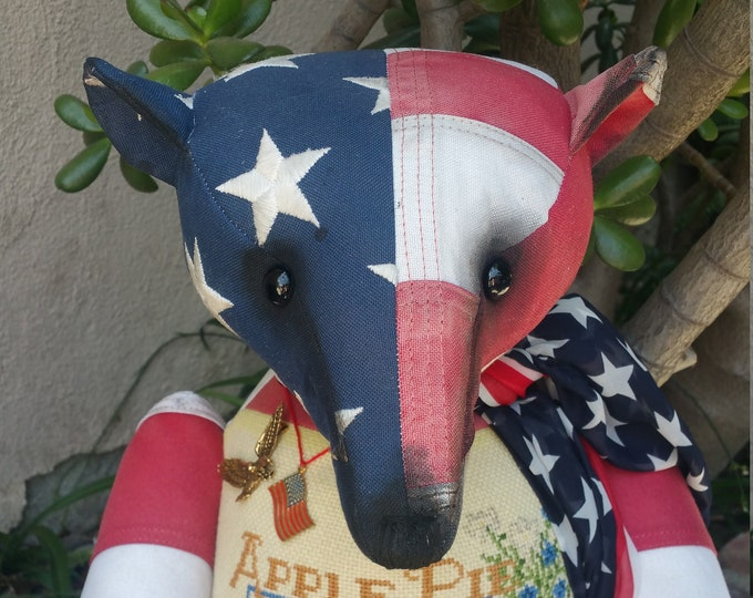 RESERVED*** Apple of my eye - 23 inch American flag bear with apple pie cross-stitched front