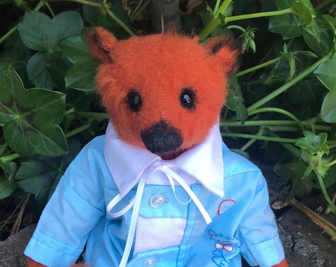 Chichi - 9 inch orange bear with vintage shirt