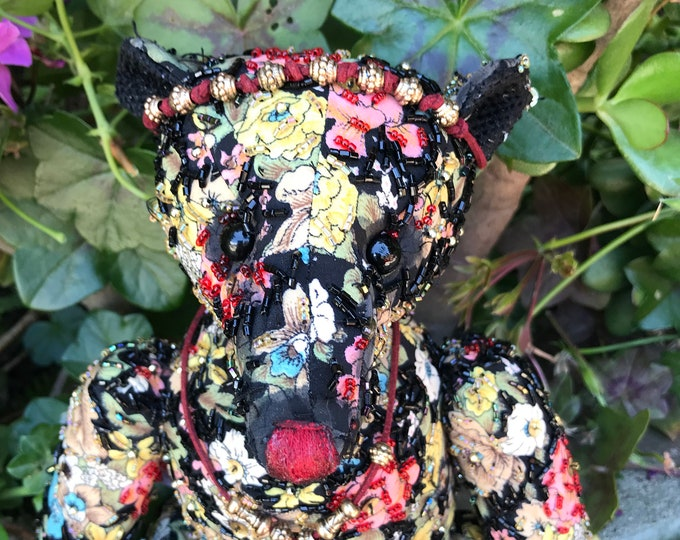 RESERVED***Clarice - 13 inch floral beaded  bear