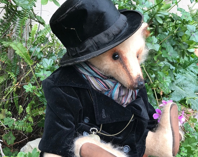 Lord Cyril - 24 inch mohair Edwardian Gentleman in vintage coat and top hat